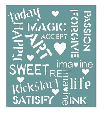 13 x 15 INCH  grunge words stencil suitable for use with large g